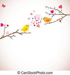 Elágazik,  (vector),  valentine's, Nap, háttér, madarak