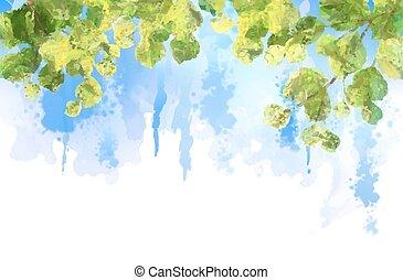 elágazik, zöld, fa, vízfestmény, vektor, zöld