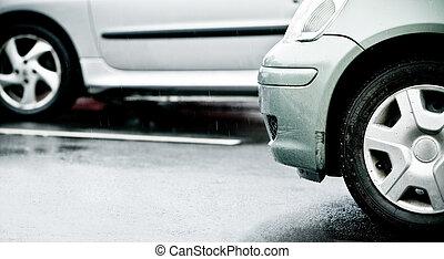 elárasztott, eső, dzsem, forgalom, ok, autóút