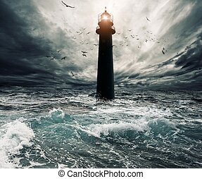 elárasztott, felett, ég, világítótorony, viharos