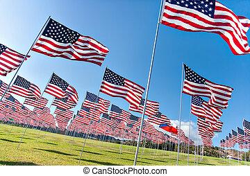 elárul, emlékmű, zászlók, amerikai, nap