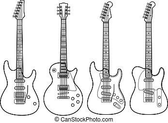 eléctrico, aislado, siluetas, vector, guitarras, blanco