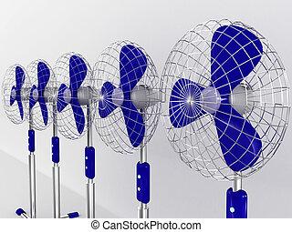 eléctrico, aislado, soplador, fondo., ventilador, blanco, 3d