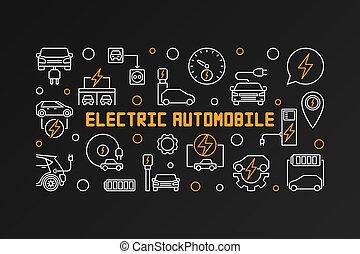 eléctrico, automóvil, vector, línea, bandera, en, fondo oscuro