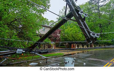 eléctrico, causado, tilt., daño, severo, postes, tormenta, ...
