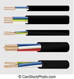 eléctrico, cobre, cable