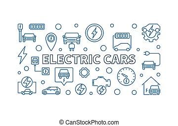 eléctrico, coches, vector, horizontal, ilustración, en, contorno, estilo