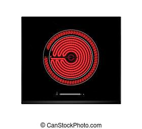 eléctrico, cocina, cerámico, caliente, hotplate, rojo