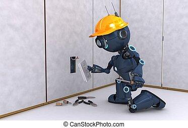 eléctrico, contratista, androide