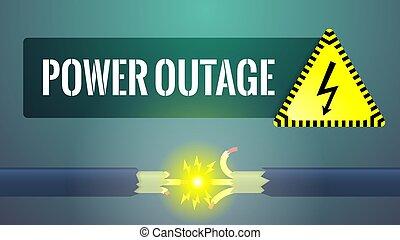 eléctrico, dañado, outage., cabel, ilustración, potencia