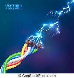 eléctrico, destello, cables, coloreado, relámpago