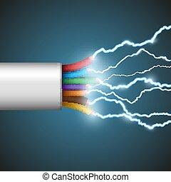 eléctrico, discharge., illustration., acción