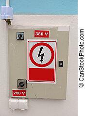 eléctrico, energía, distribución, substation., high-voltage.