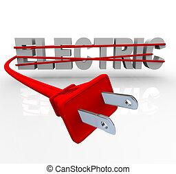 eléctrico, -, envuelto, en, cordón de potencia
