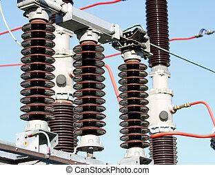 eléctrico, estación, insulators, de alto voltaje, potencia