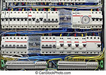 eléctrico, fusibles, primer plano, panel