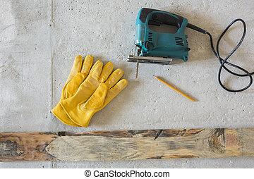 eléctrico, giga, sierra, y, amarillo, guantes