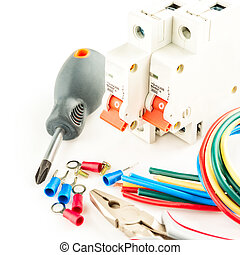 eléctrico, herramientas, blanco, plano de fondo
