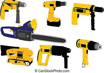 eléctrico, herramientas, -, vector
