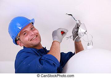 eléctrico, lámpara, colocado, en, el, techo