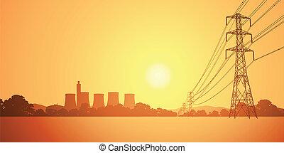 eléctrico, líneas, potencia