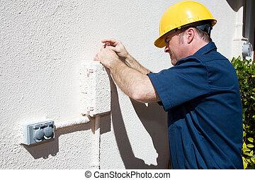 eléctrico, o, cable, reparador