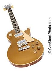 eléctrico, oro, guitarra, les, (gibson, top), paul