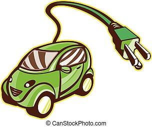 eléctrico, plug-in, híbrido, aislado, vehículo
