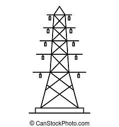 eléctrico, poste, icono, contorno, estilo