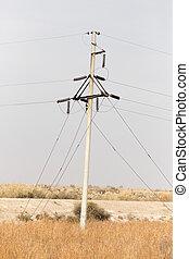 eléctrico, postes, en, naturaleza