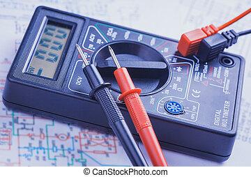 eléctrico, primer plano, multímetro, circuit.