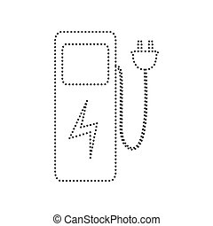 eléctrico, punteado, isolated., coche, signo., fondo.,...