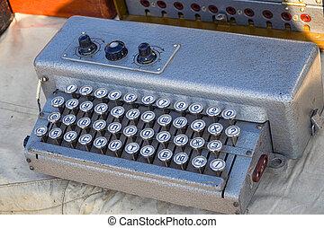eléctrico, retro, teclado, para, telégrafo, o, teletipo