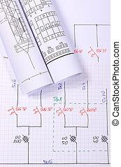 eléctrico, rollos, diagramas