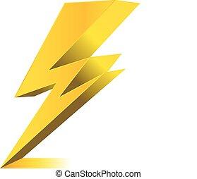 eléctrico, símbolo, ilustración, iluminación, carga, vector...
