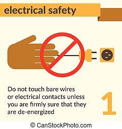 eléctrico, seguridad, y, salud, iconos, y, señales, conjunto