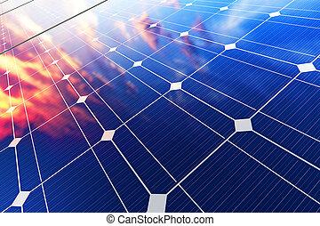 eléctrico, solar, batería, paneles