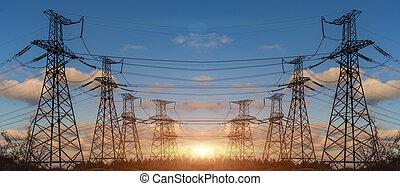eléctrico, transmisión, energía, alto voltaje, pylon., torre