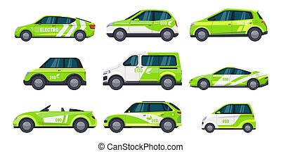 eléctrico, transporte, o, automóvil, conjunto, coche verde, eco