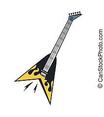 elétrico, amarela, guitarra, pretas, chama, branca