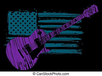 elétrico, bandeira, isolado, guitarra, americano, experiência preta