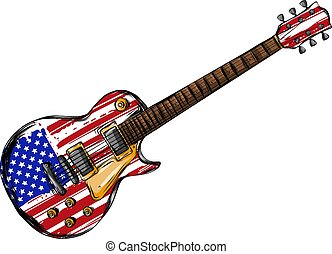 elétrico, bandeira, isolado, guitarra, americano, fundo, branca