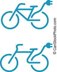 elétrico, bicicleta, ícone