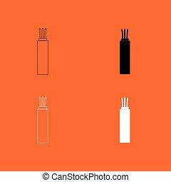 elétrico, cabo, ícone