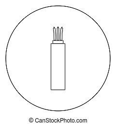 elétrico, cabo, cor, círculo preto, ícone
