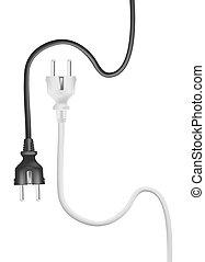 elétrico, cabo, vetorial, pretas, plugs., branca