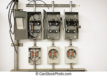 elétrico, centro, medidor
