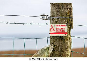elétrico, cerca, perigo, sinal aviso