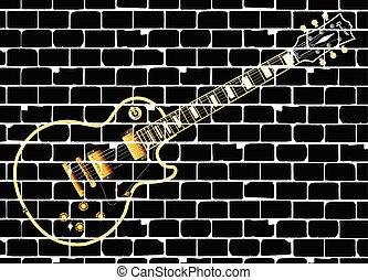 elétrico, clássicas, parede, guitarra, rocha, tijolo