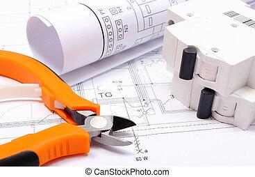 elétrico, diagramas, trabalho casa, fusível, elétrico, construção, ferramentas, desenho